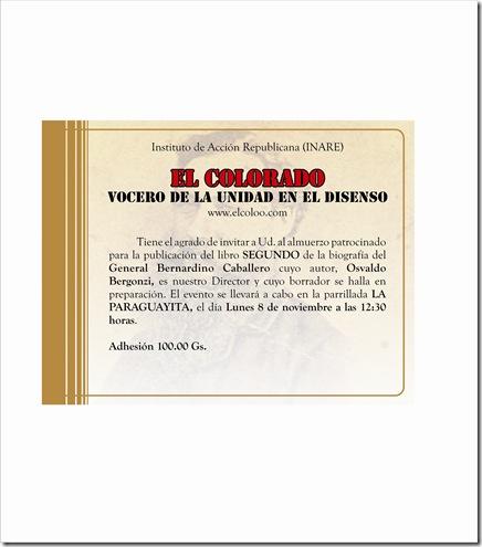 Invitacion Lanzamiento Libro Bernardino Caballero.