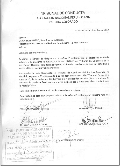 Tribunal de Conducta-Resolucion 22-2010