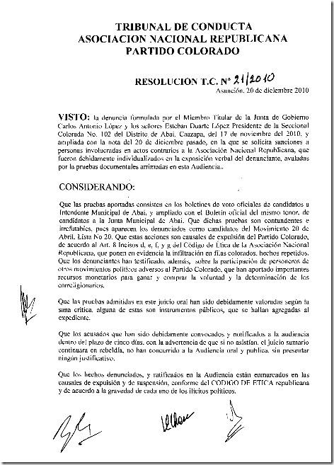 Tribunal de Conducta-Resolucion No.21-2010 001