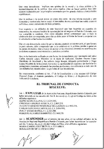 Tribunal de Conducta-Resolucion No.21-2010 002