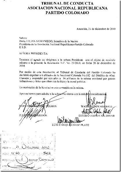 Tribunal de Conducta-Resolucion No.21-2010