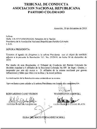 Tribunal de Conducta Resolucion No.25-2010-Pag 1